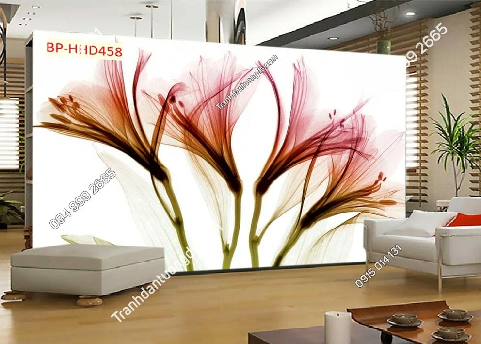 Tranh hoa 3D hồng dán phòng khách HHD458