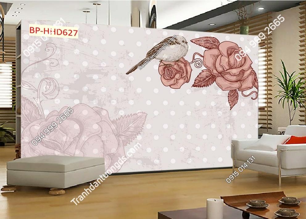 Tranh hoa 3D màu hồng dán tường phòng khách HHD627