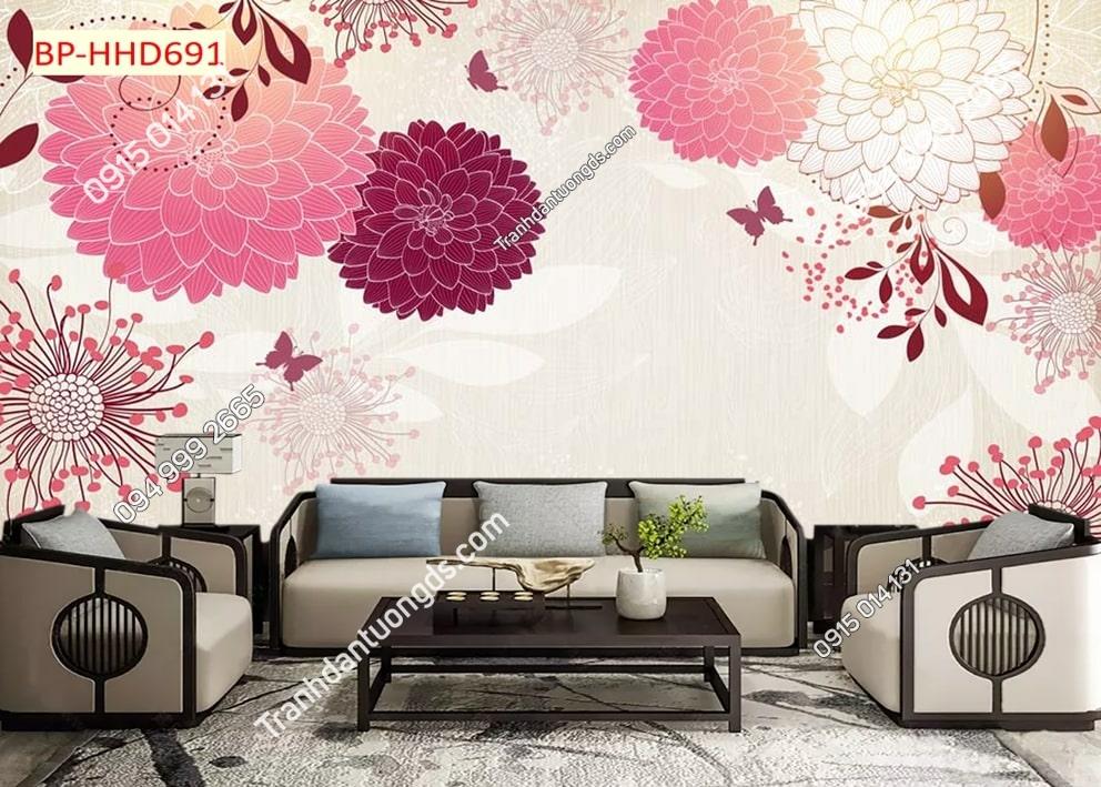 Tranh hoa 3D màu hồng dán tường phòng khách HHD691