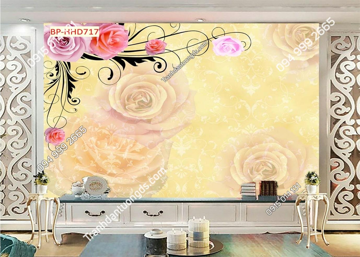 Tranh hoa 3D màu hồng dán tường phòng khách HHD717