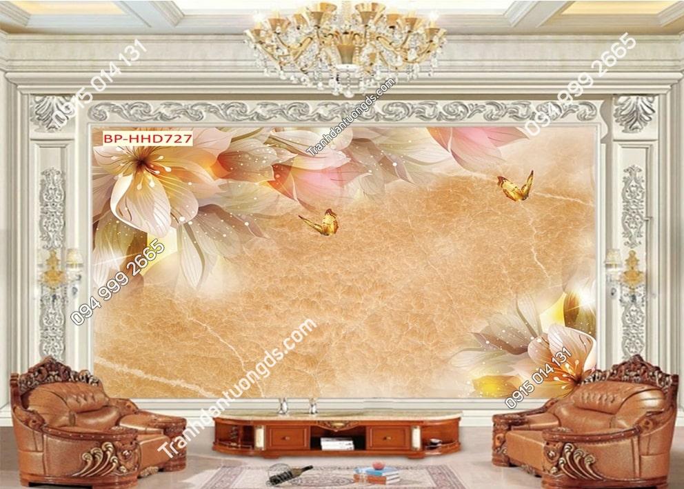 Tranh hoa 3D màu hồng dán tường phòng khách HHD727