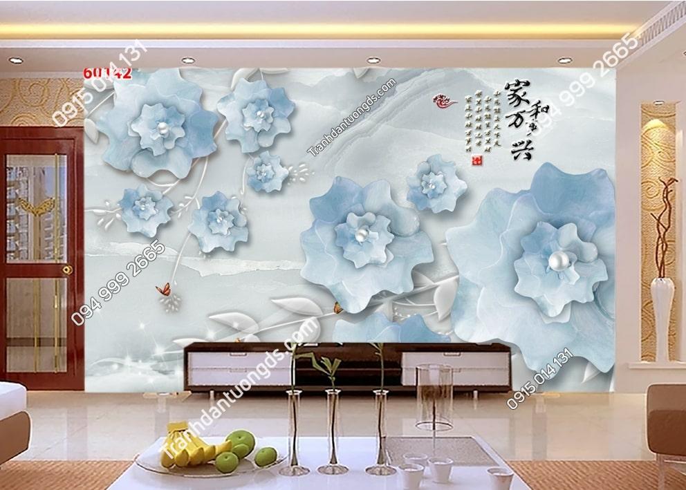 Tranh hoa 3D màu xanh dán tường phòng khách 60142