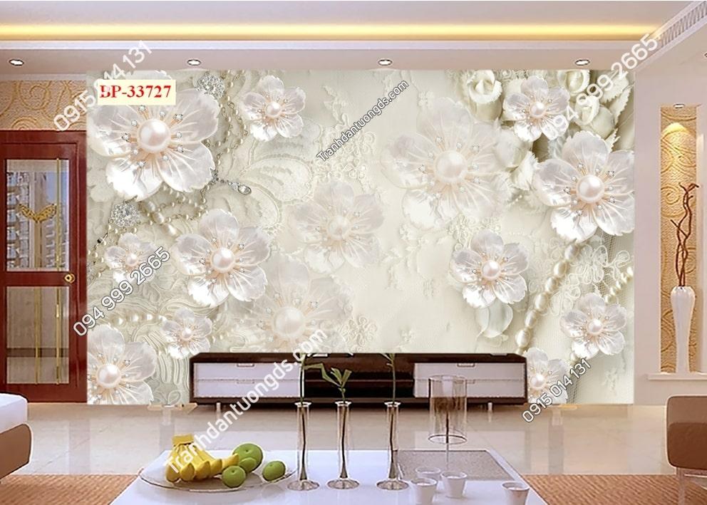 Tranh hoa 3D nhụy ngọc trai 33727