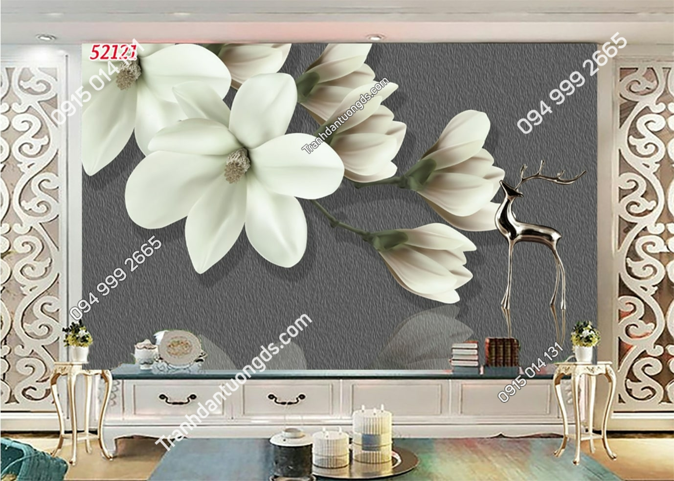 Tranh hoa 3D trắng hiện đại 52121