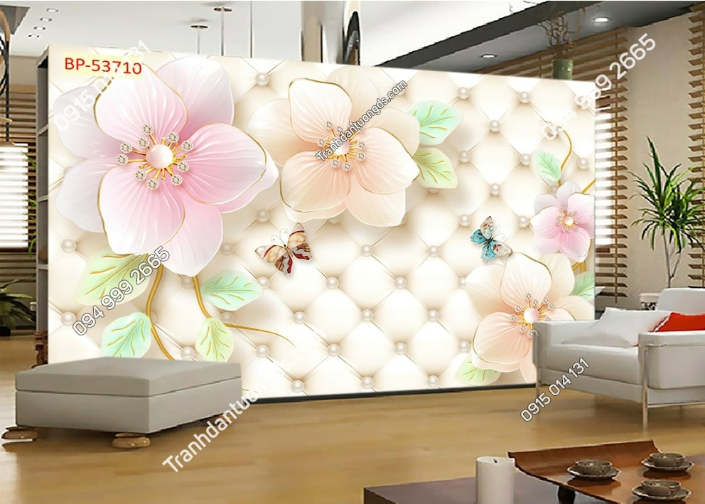 Tranh hoa 3D và bướm 53710