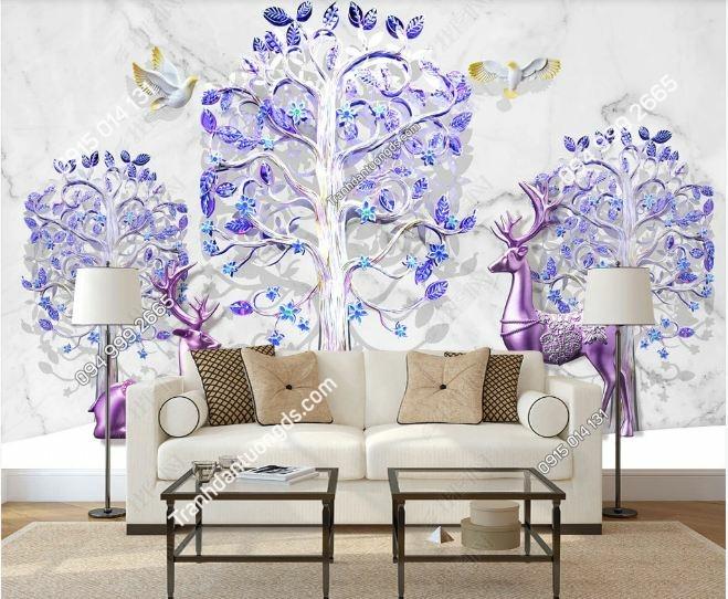 Tranh hoa 3D và hươu dán tường DS_18615617