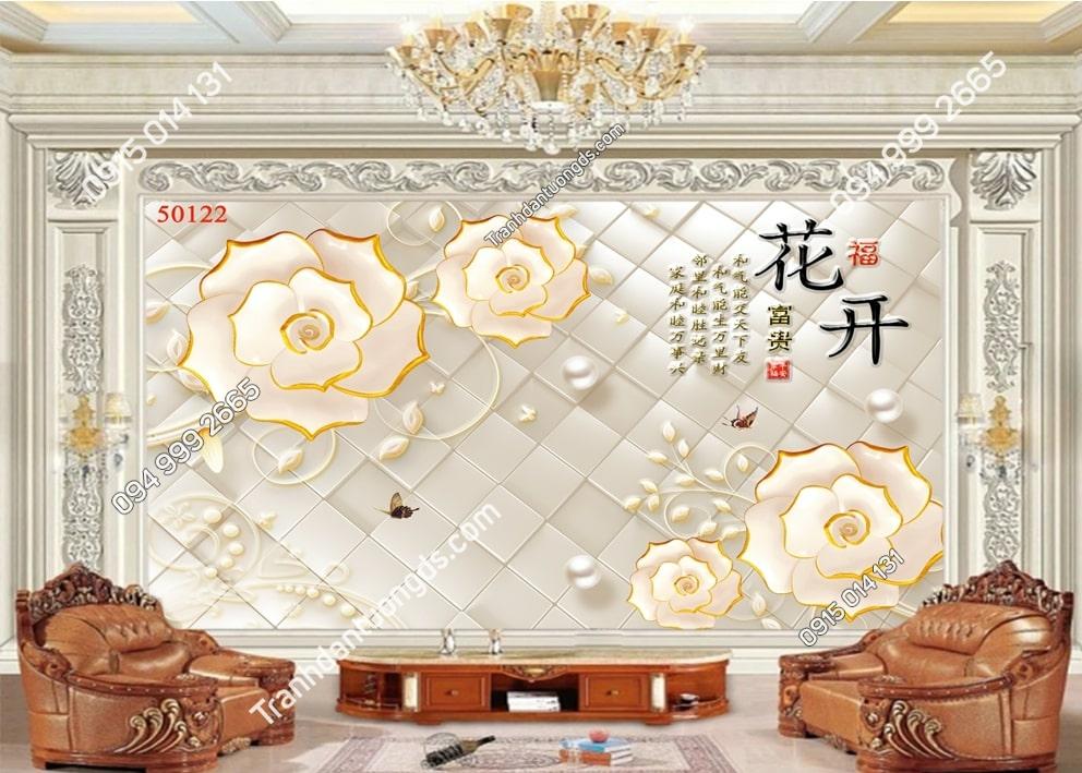 Tranh hoa 3D và thư pháp 50122