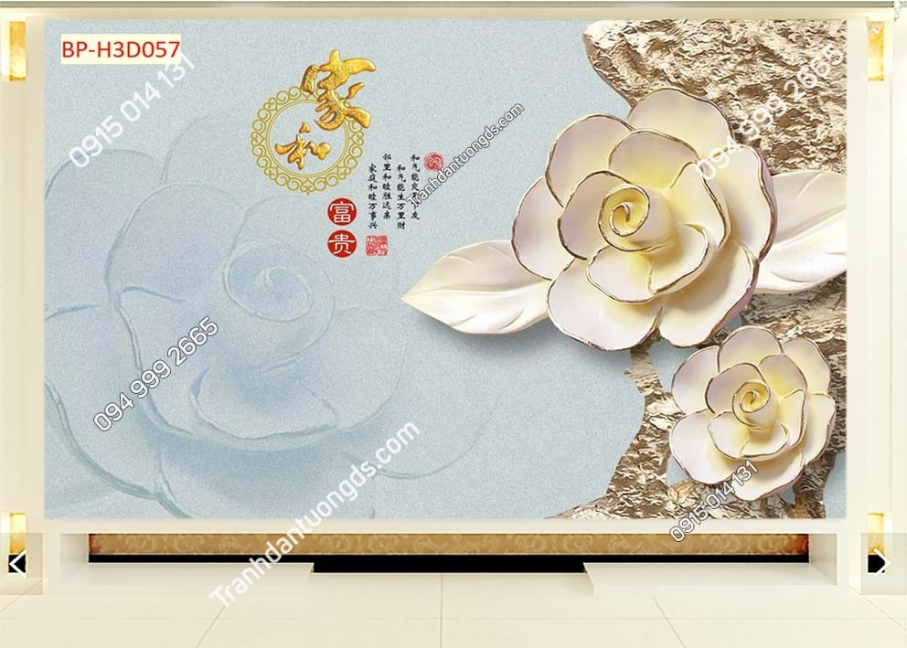 Tranh hoa 3D vải lụa H3D057