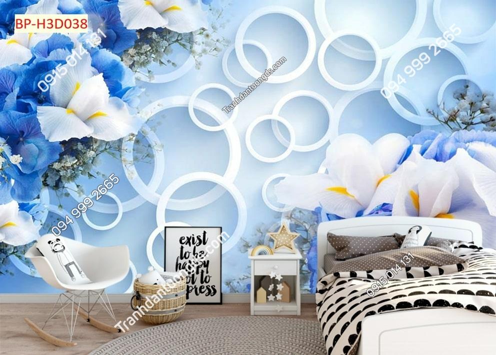 Tranh hoa 3D xanh dán phòng ngủ H3D038