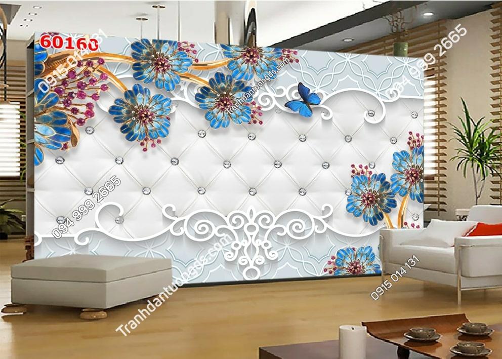 Tranh hoa 3D xanh và bướm 60160