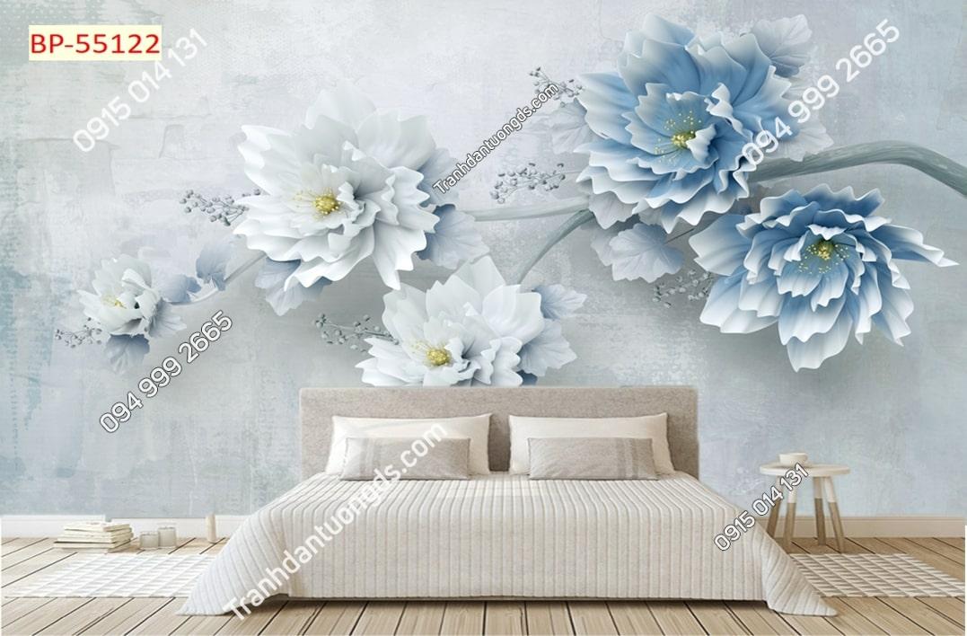 Tranh hoa 3d xanh dán phòng ngủ 55122