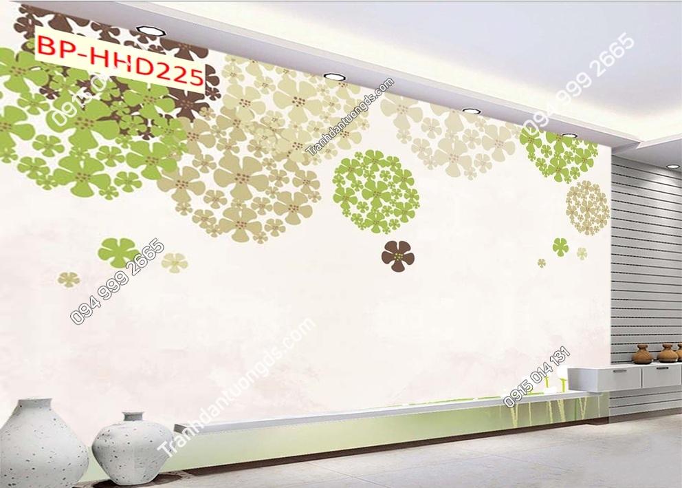 Tranh hoa 5 cánh xanh 3D dán tường HHD225