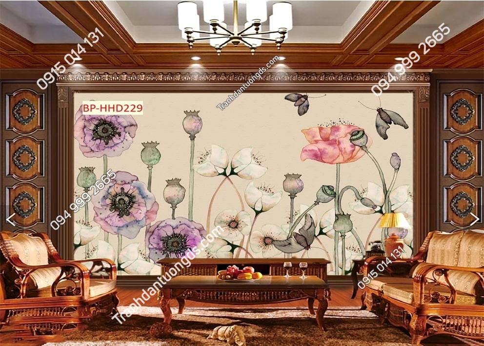 Tranh hoa anh túc hồng phòng khách HHD229