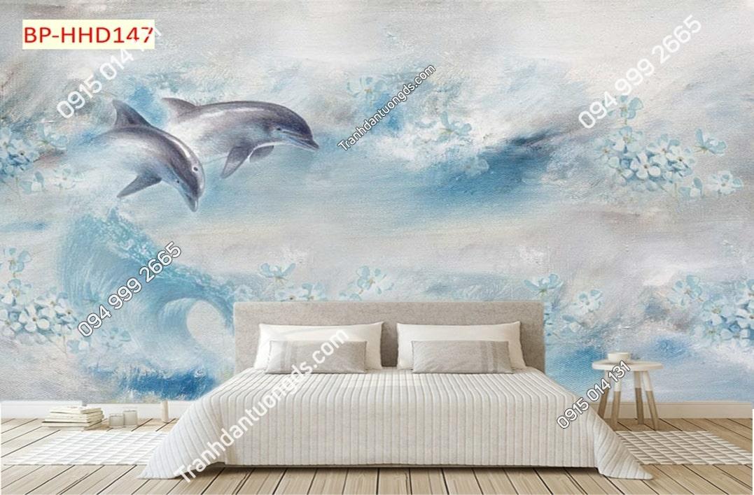 Tranh hoa cá heo xanh 3D dán tường HHD147