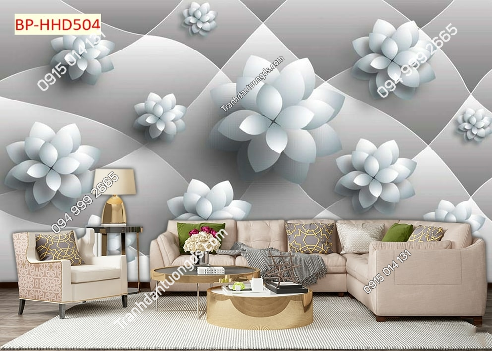 Tranh hoa cách điệu 3D HHD504