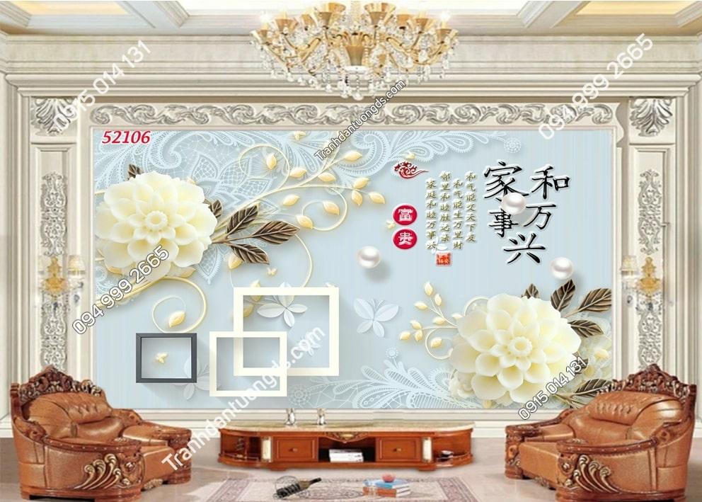 Tranh hoa cẩm tú cầu trắng 52106