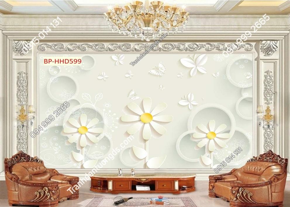 Tranh hoa cúc nhụy vàng HHD599