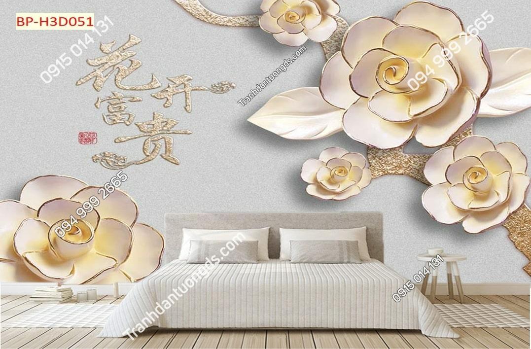 Tranh hoa dán đầu giường H3D051