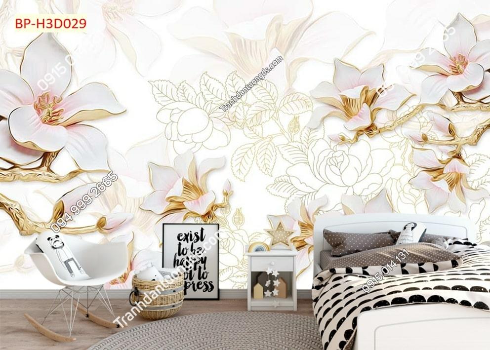 Tranh hoa đào 3D H3D029