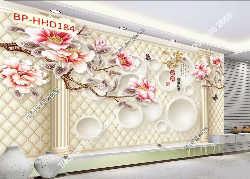 Tranh hoa đào 3D màu hồng HHD184