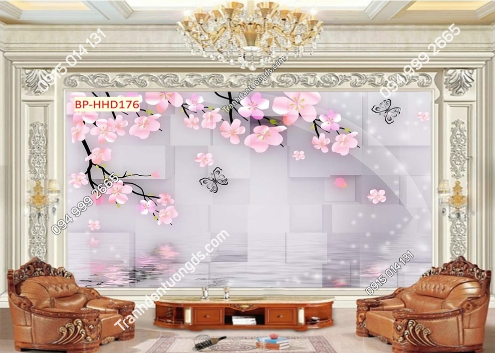 Tranh hoa đào hồng 3D HHD176