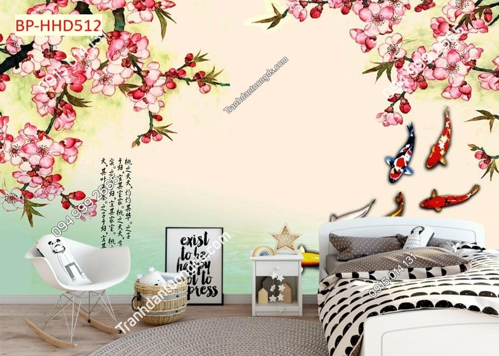 Tranh hoa đào hồng và cá 3D HHD512