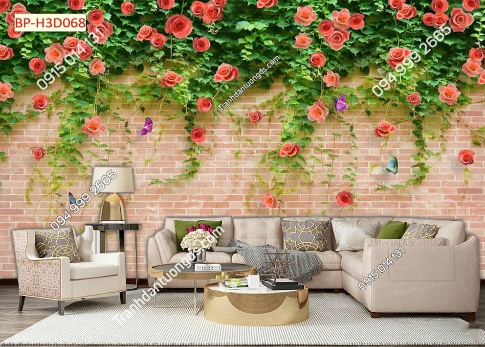 Tranh hoa dây leo trên tường gạch H3D068