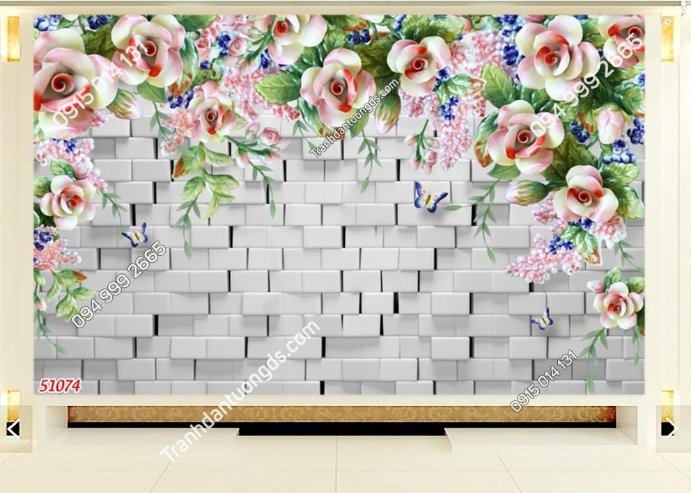 Tranh hoa dây leo và tường đá 3D 51074