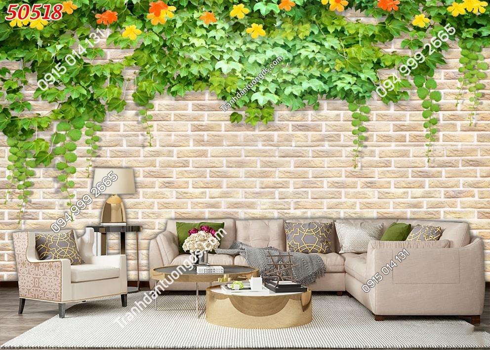 Tranh hoa dây leo và tường đá 50518