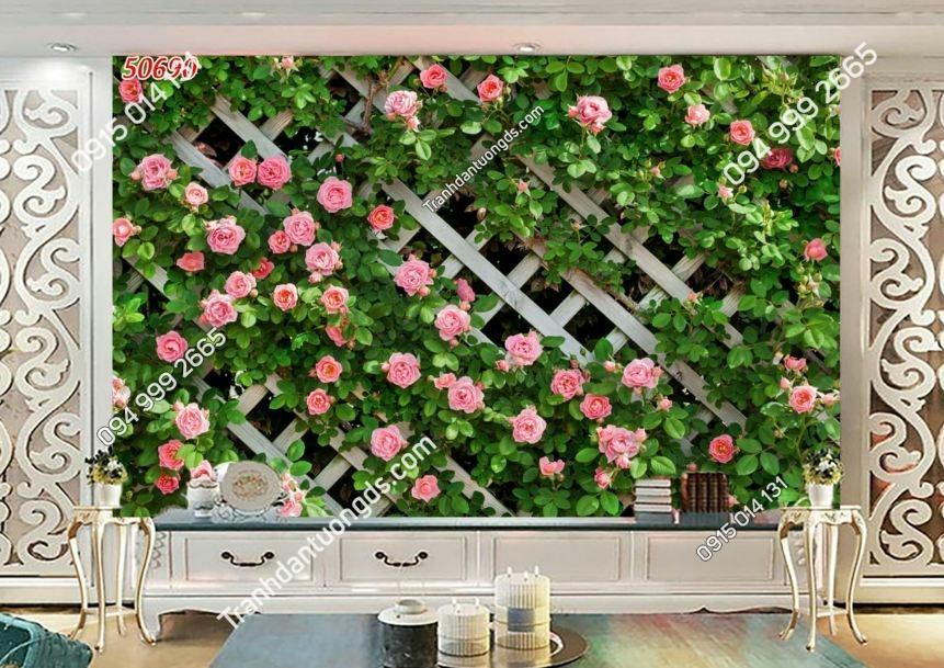 Tranh hoa dây leo và tường gỗ 50690