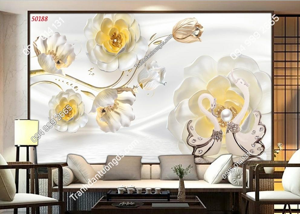 Tranh hoa giả ngọc 3D hiên đại 50188