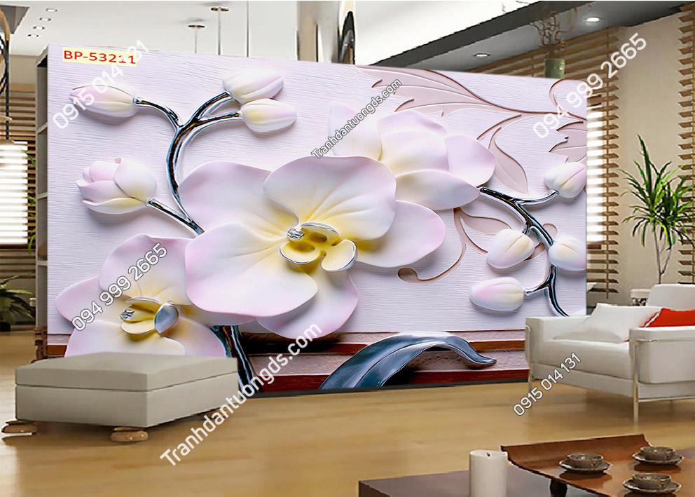 Tranh hoa giả ngọc 3D màu hồng 53211