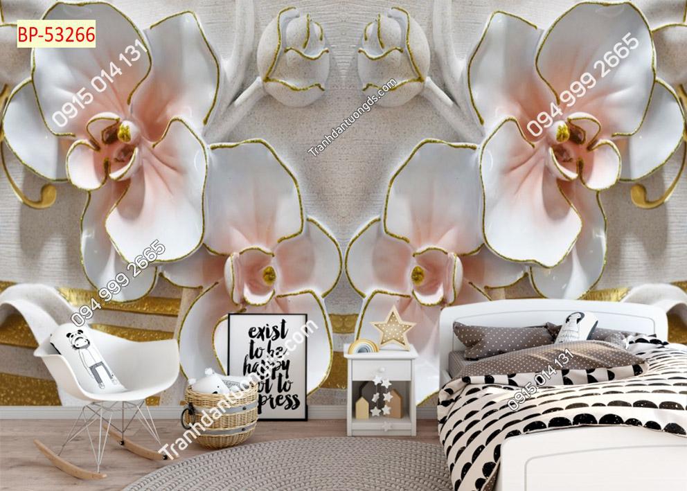 Tranh hoa giả ngọc 3D màu hồng 53266