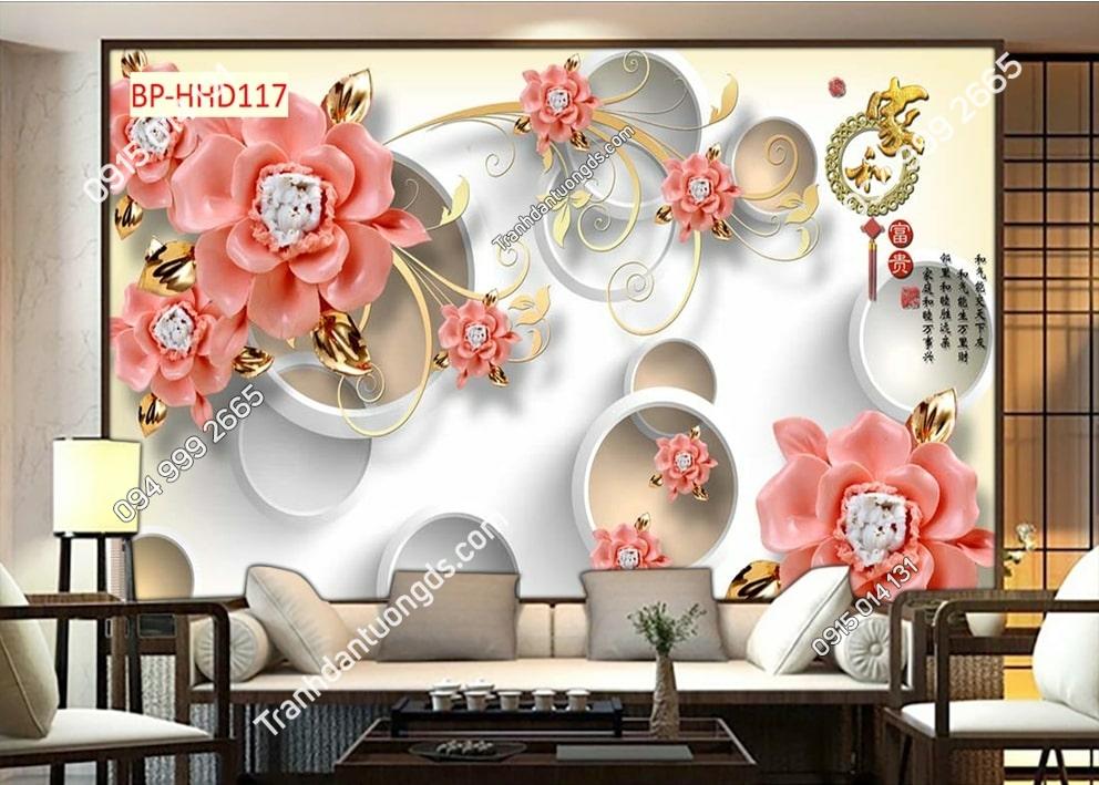 Tranh hoa giả ngọc 3D màu hồng HHD117