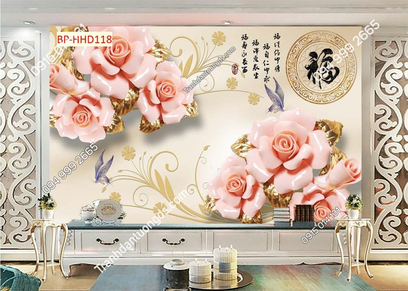 Tranh hoa giả ngọc 3D màu hồng HHD118