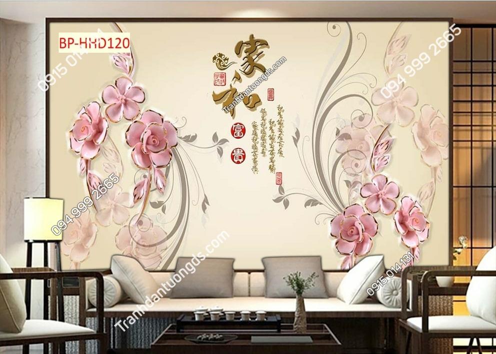 Tranh hoa giả ngọc 3D màu hồng HHD120