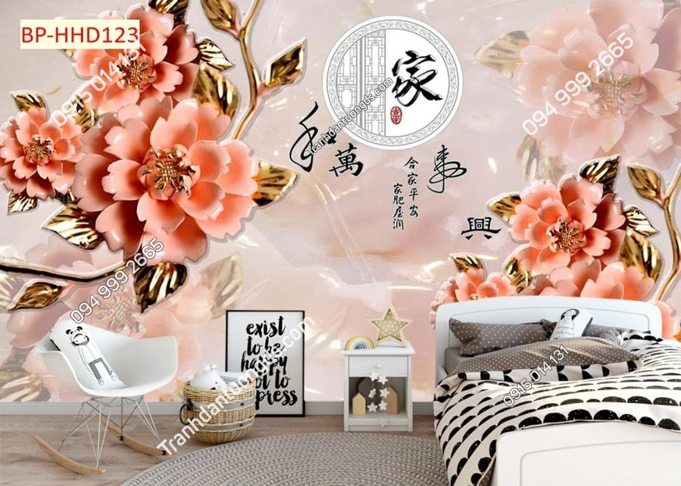 Tranh hoa giả ngọc 3D màu hồng HHD123