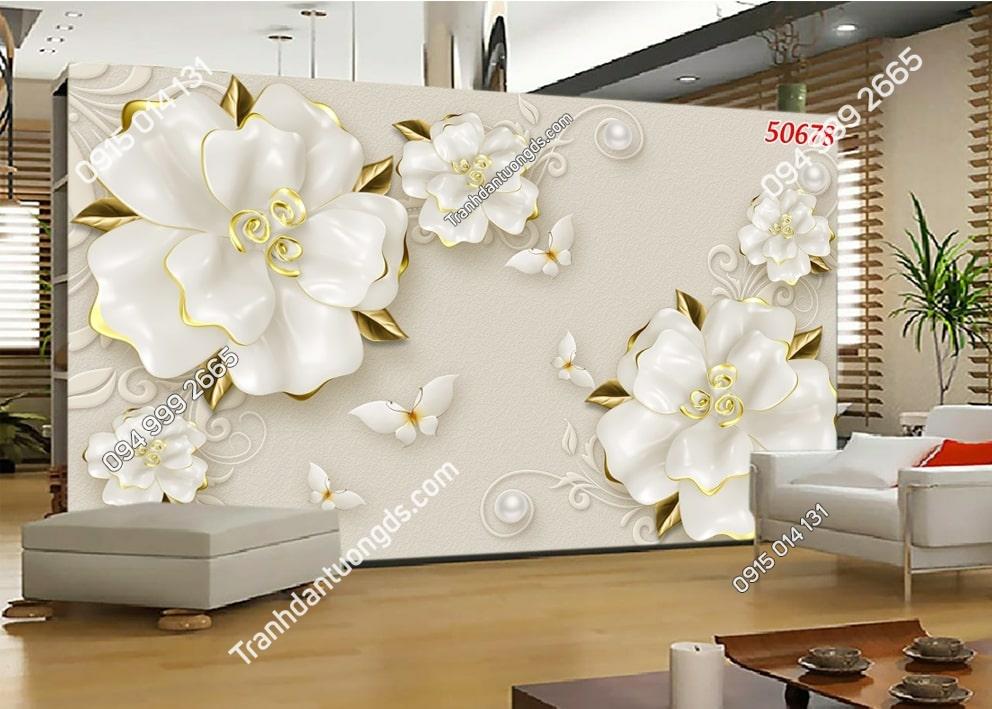 Tranh hoa giả ngọc điểm lá vàng 50678