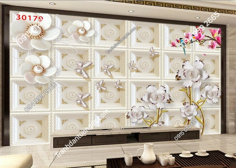Tranh hoa giả ngọc hoa màu trắng 30179