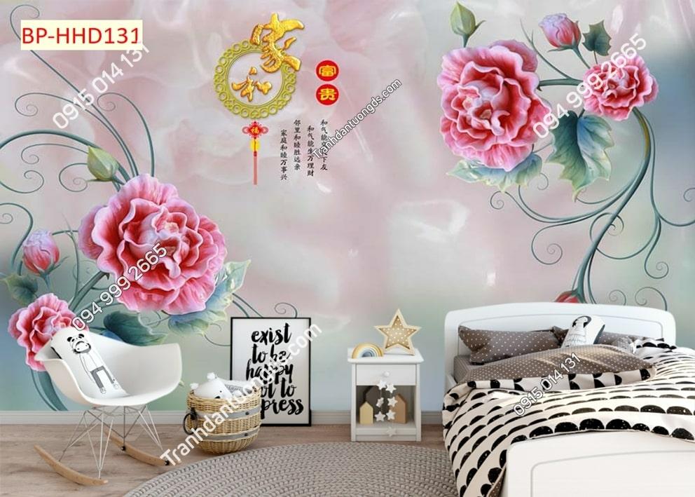 Tranh hoa giả ngọc màu hồng HHD131