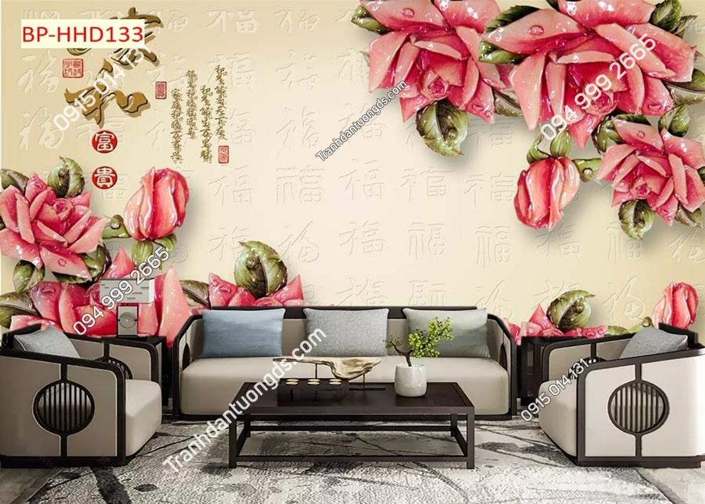 Tranh hoa giả ngọc màu hồng HHD133