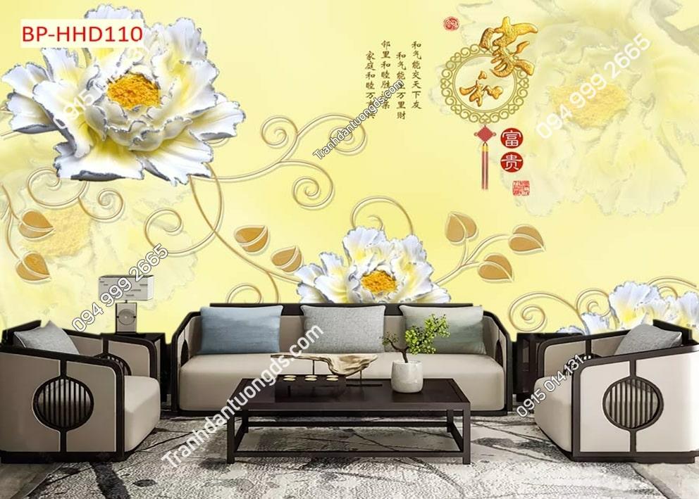 Tranh hoa giả ngọc nhụy vàng HHD110