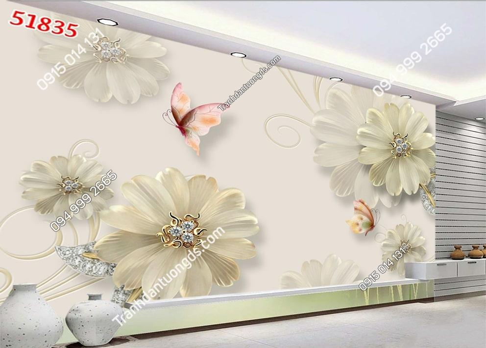 Tranh hoa giả ngọc và bướm 51835