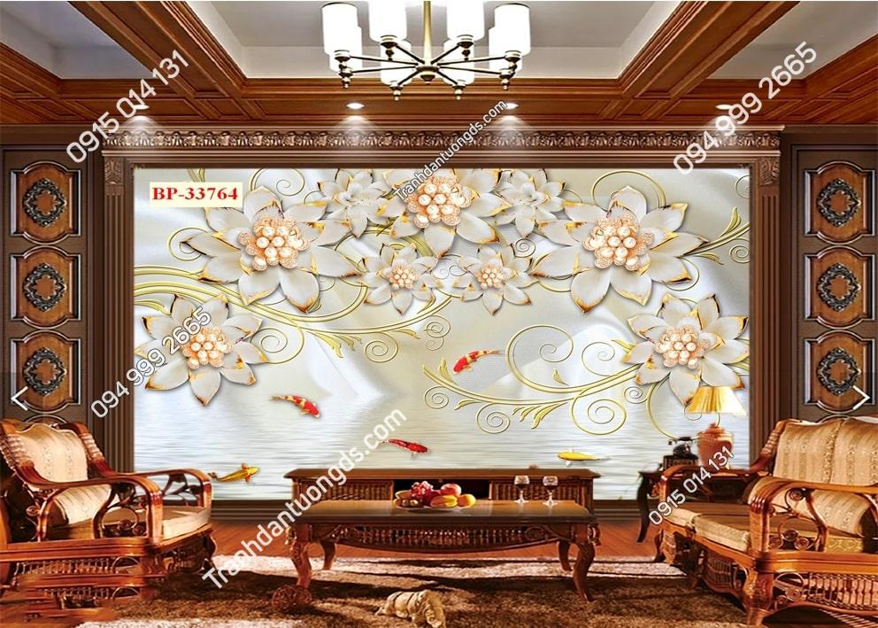 Tranh hoa giả ngọc và cá 33764