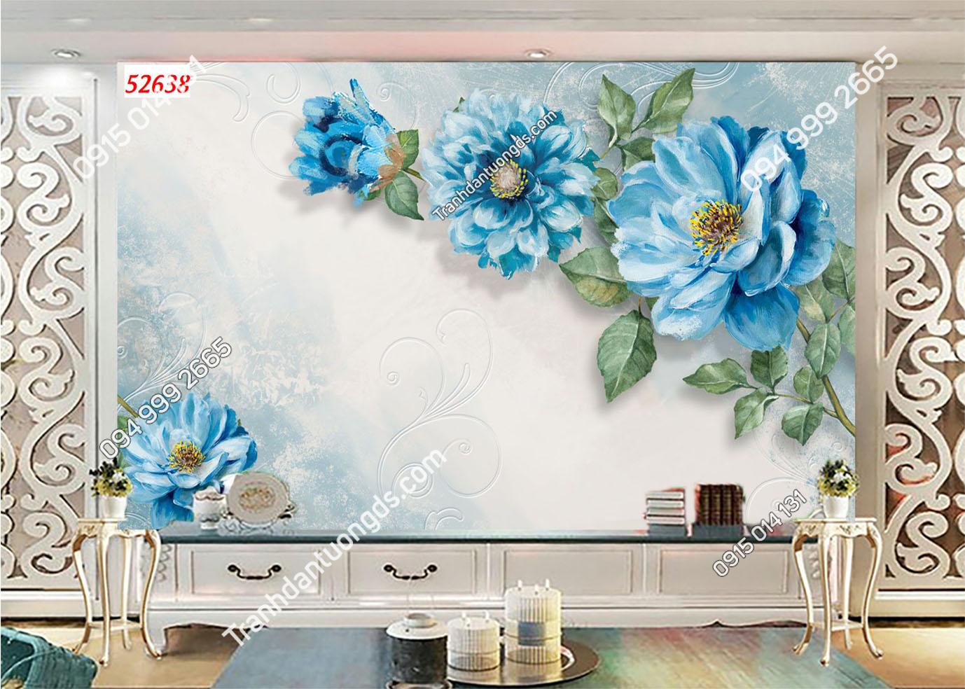 Tranh hoa giả ngọc xanh 3D 52638