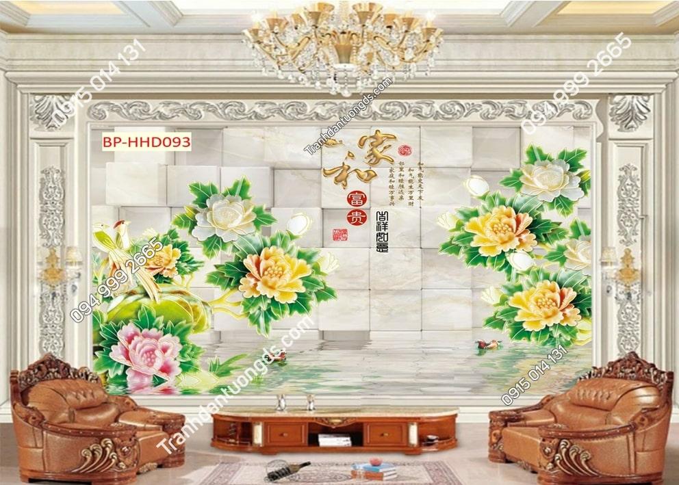 Tranh hoa giả ngọc xanh 3D dán tường HHD093