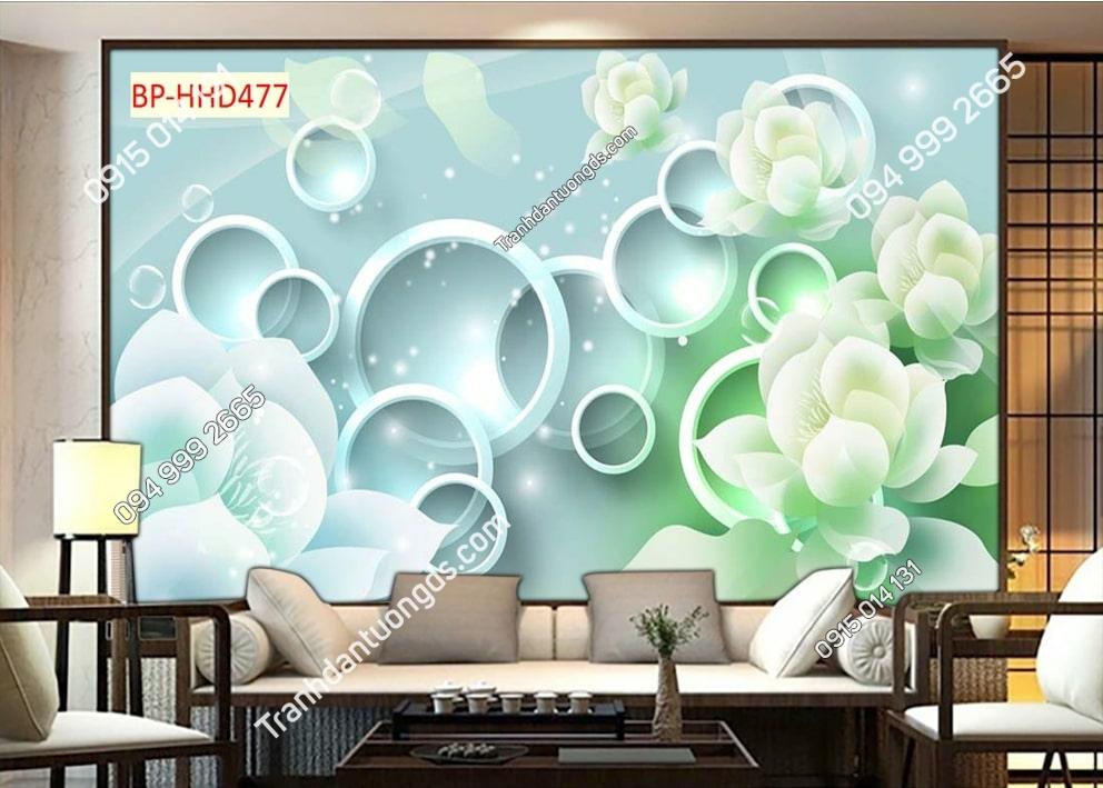 Tranh hoa giả ngọc xanh 3D dán tường HHD477