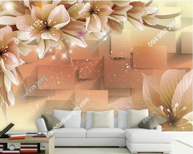 Tranh hoa hiện đại 3D màu cam DS_12469507