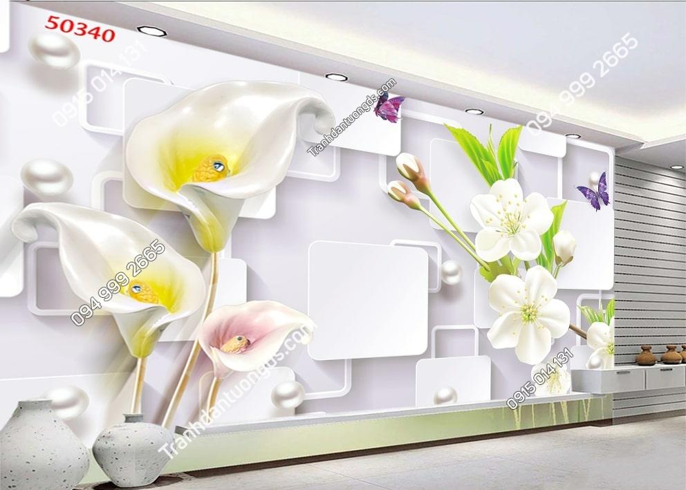 Tranh hoa hiện đại và ngọc trai 50340