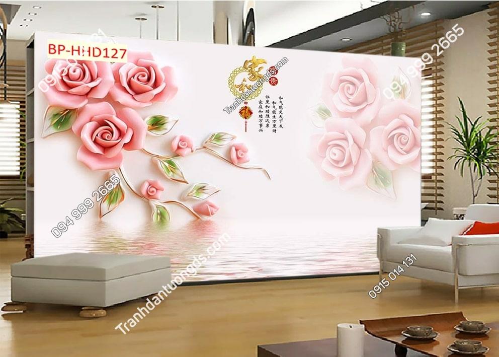 Tranh hoa hồng 3D HHD127